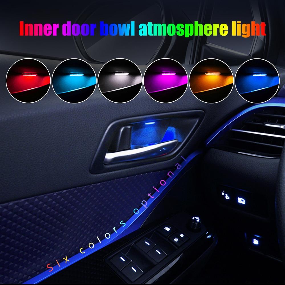 4pcs Car Ambient LED Light Auto Inner Door Bowl Handle Armrest Light Car Door Interior Decorative Atmosphere Lamp Universal