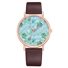 Women Watch Quartz Fashion Casual Leather Strap Pin Buckle Durable Round Gift Business Pointer Adult Wristwatch Plant Printed(China)