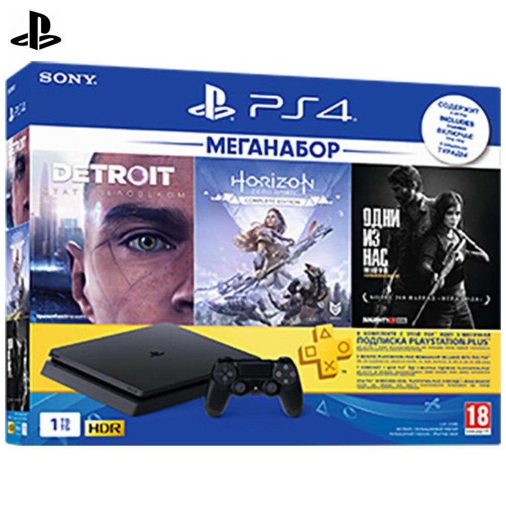 Комплект «Sony PlayStation 4 Slim (1TB) Black (CUH 2208B)» + игра «HZD» + игра «Detroit» + игра «TLOU» + PS Plus 3 мес.|Игровые консоли|   | АлиЭкспресс