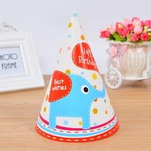 12 шт синий красный бумажный колпачок праздничный колпак детский праздничный Декор мультфильм слон тема вечерние шляпы