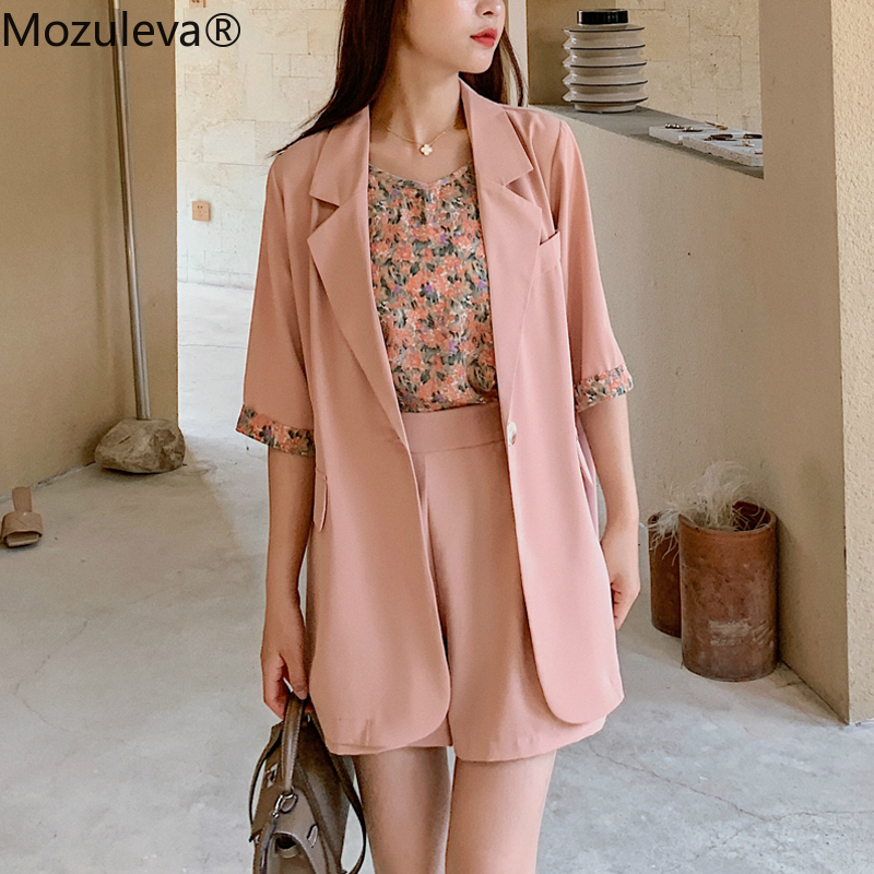 Mozuleva 2020 Elegant 2 Pieces Female Shorts Set Short Sleeve One Button Blazer & Loose Shorts Summer Short Pant Suits For Women