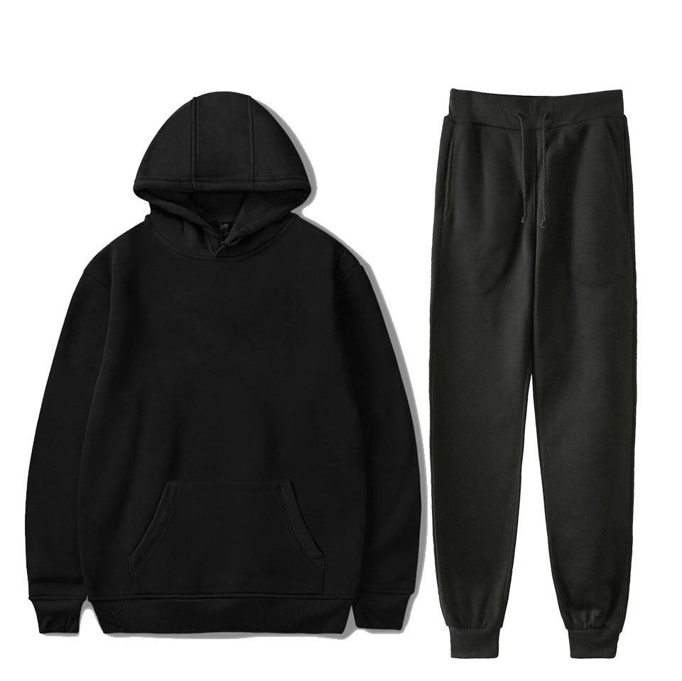 Teenager Casual Hoodie Suit Solid Color Blank Ankle Banded Pants Hooded Sweater Hoodie Set Men's