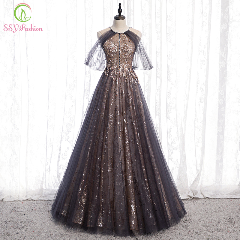 SSYFashion New Banquet Elegant Evening Dress Halter Sequins Appliques Sleeveless Long Prom Formal Gowns Vestido De Noche