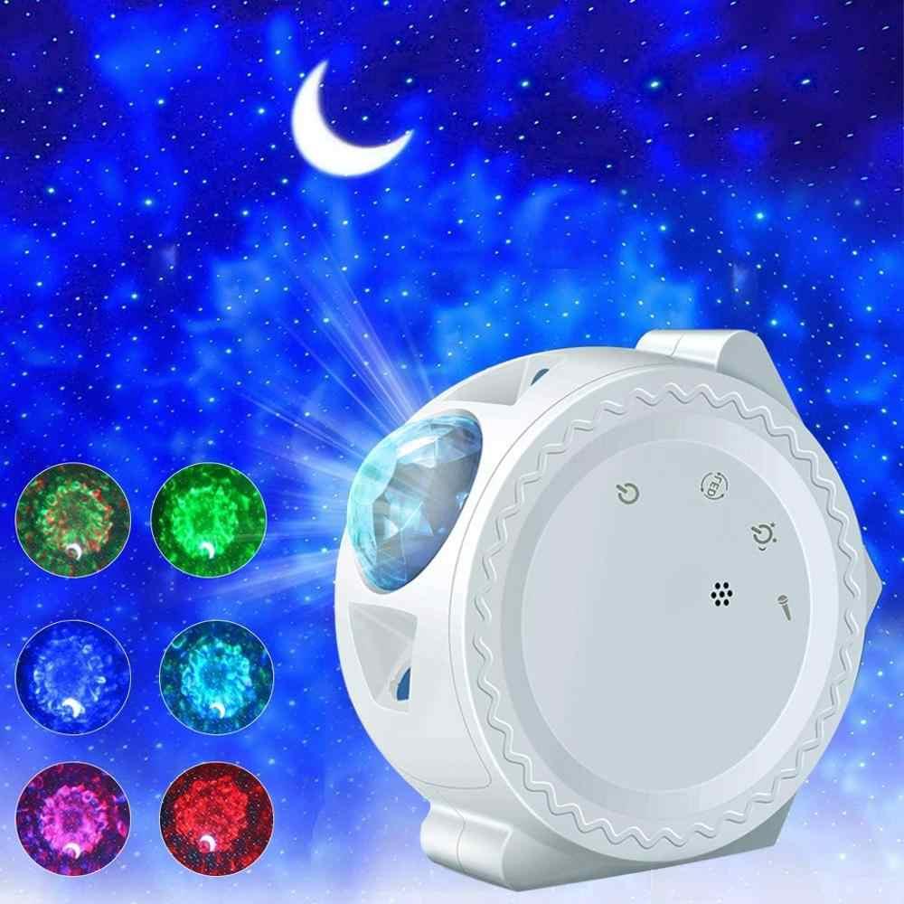LED Galaxy Starry Sky Projector Night Light Ocean Wave Star Moon Room Decor Lamp