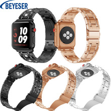 New Rhinestone Band Strap Suitable for Apple Watch 38mm 42mm 40mm 44mm for apple watch series 5 4 3 2 1 stainless steel bracelet stainless steel strap for apple watch band rhinestone diamond band 38mm 42mm series 3 2 1 for apple watch 40mm 44mm series 4 5