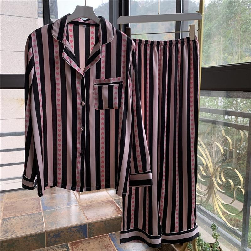 Youhottest Pink Stripe Long Sleeves Pijama  Women Nature Silk Pajamas