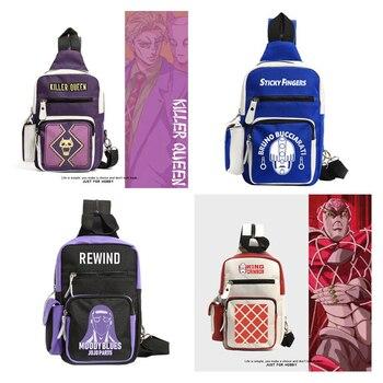 Anime JoJo's Bizarre Adventure King Crimson Cosplay Backpack Teens Canvas Shoulder Bags Large Capacity Crossbody Bag Knapsack