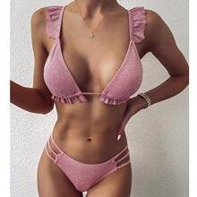 Conjunto de Bikini de encaje liso para mujer, bañador de realce, ropa de playa, traje de baño acolchado de venta al por mayor, bikini de cerezas 2021, Bikini #35