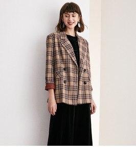 Image 2 - Terno xadrez casaco curto terno colarinho duplo breasted xadrez britânico curto casaco feminino wear