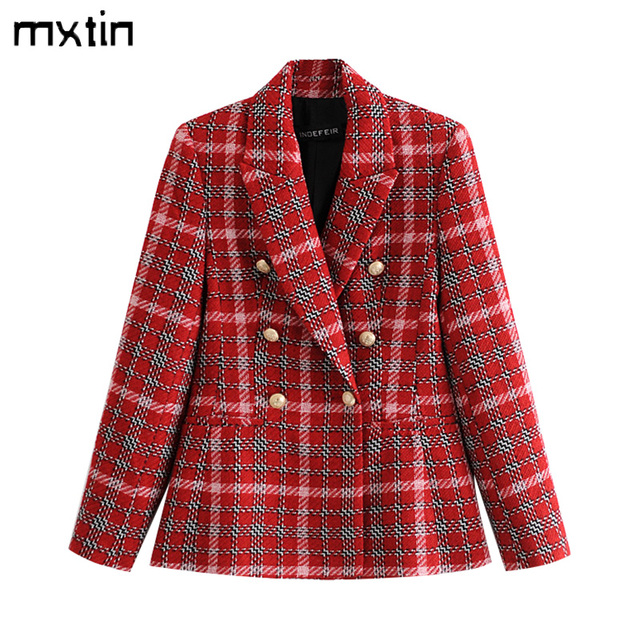 Fashion Double Breasted Plaid Blazers and Jackets Work Office Lady Autumn Women Suit Slim Business Female Blazer Coat Talever 1