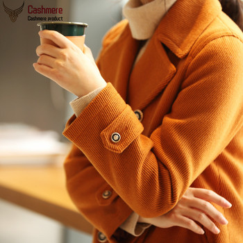 Women's jacket short coat coat women's autumn winter loose jacket lapel double-breasted woolen plus cotton casual jacket 2096 цена 2017