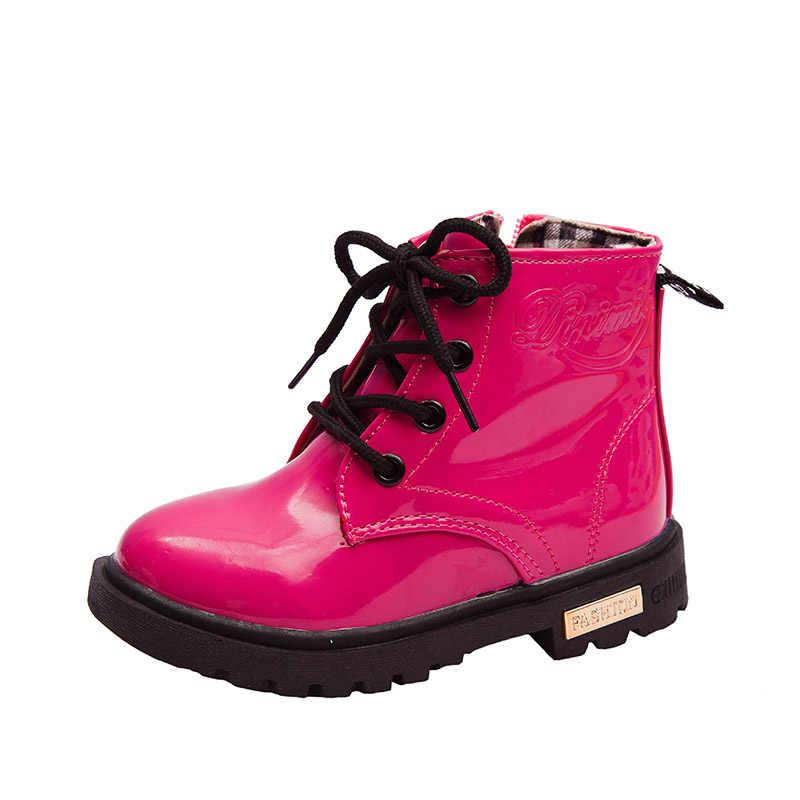 新 2020 子供ブーツ春秋の革の子供のブーツファッション幼児の子供ブーツファッションソフト女の子防水オートバイの靴