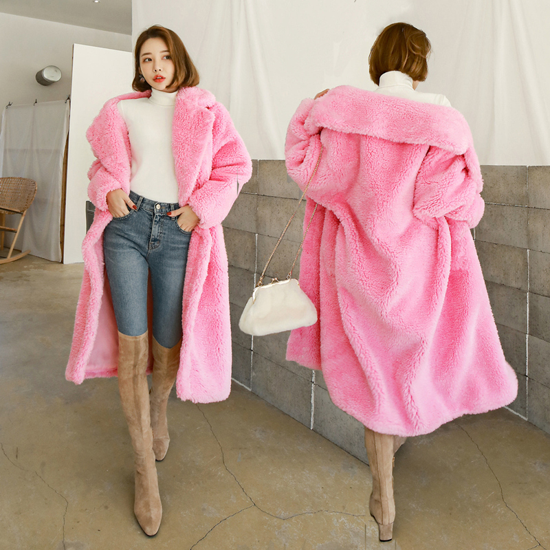 Winter Women Fashion Elegant Faux Lamb Fur Coat Thick Warm Faux Fur Overcoat XHSD-434 - Цвет: Pink