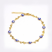 Charm Bracelets Woman Accessories Stainless Steel Jewelry Fashion Personality Chain Link Adjustable Beads Evil Eye Bracelet цена и фото