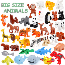 Big Size Animals Whale Crocodile seal deer Panda Enlightenment Aminal Toys For Children Kids Compatible Big Size For Kids Gifts