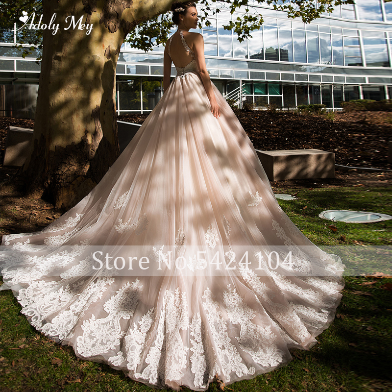 Image 2 - Adoly Mey Romantic Halter Neck Backless A Line Wedding Dress 2020 Luxury Beaded Sashes Appliques Court Train Vintage Bridal GownWedding Dresses   -