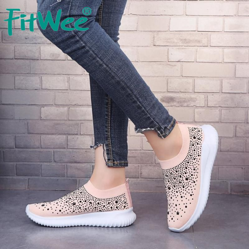FITWEE Casual Vulcanized Shoes Women Sneakers Fly Knitted Sock Shoes Women Bling Crystal Round Toe Party Footwear Size 35-43