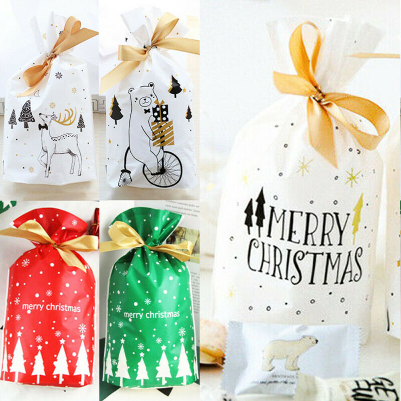 50PCS Woman's Family Christmas GiftBags  Christmas Party Drawstring Aluminum Foil Bags 11 Patterns