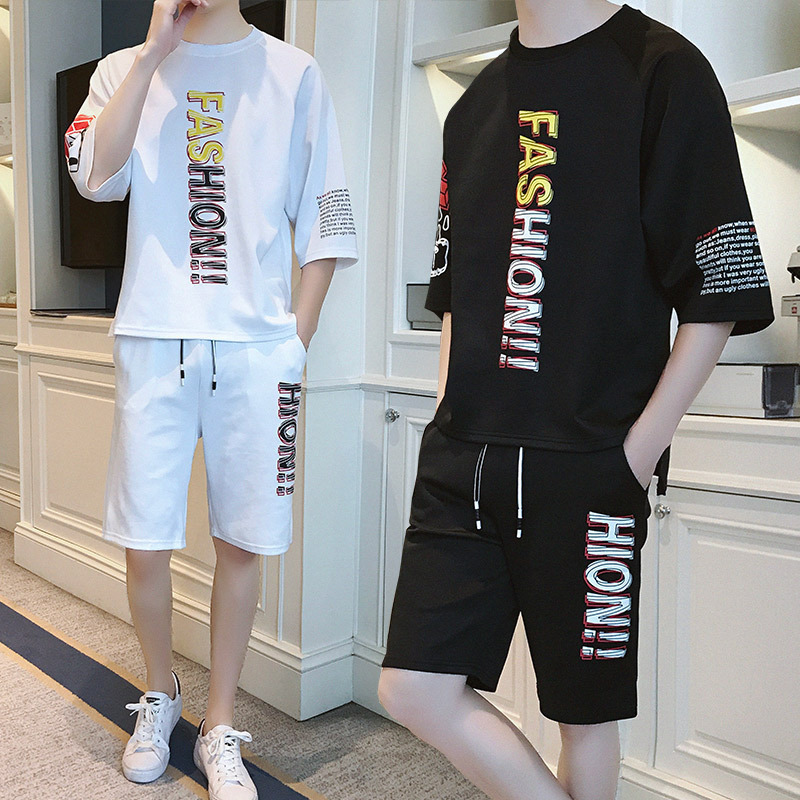 Summer Hip Hop Set Men 2018 New Style Loose Short Sleeve T-shirt Korean-style Trend Students Handsome Two-Piece Set Fashion