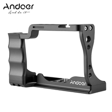 Andoer câmera gaiola liga de alumínio com sapata fria montagem compatível com para canon eos m50 dslr câmera
