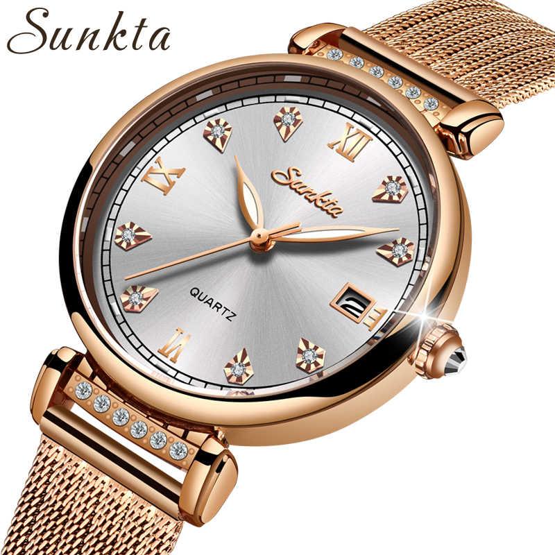 Sunkta simples elegante mulher relógios pulseira de aço completo casual à prova dwaterproof água relógio de quartzo feminino completa rosa ouro relógio de luxo feminino