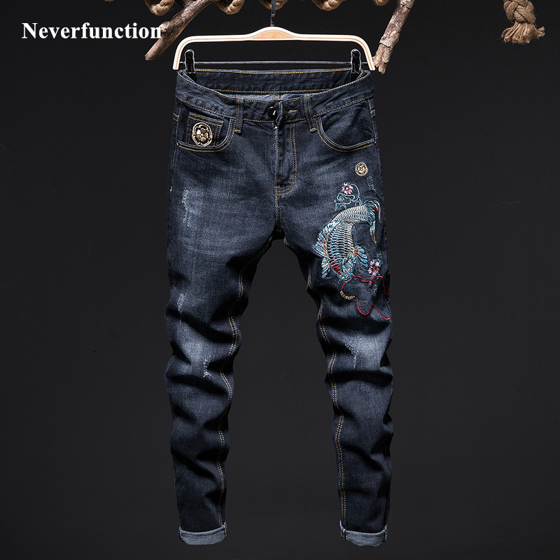 Men Ripped Fashion Carp Embroidery Skinny Biker Jeans Streetwear Stretch Slim Fit Motorcycle Man Joggers Denim Trousers