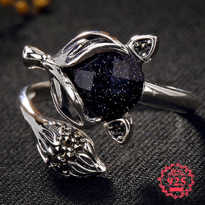 NOT FAKE Poland S925 Fine Antique Shop Ring Sapphire Ring Women Chinatown Art Handicraft Artisan Baltic Gemstone Lazuli