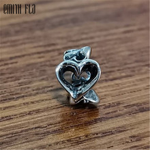 Retro Love Heart Charms Silver 925 Original Beads Fit Brand Bracelet Jewelry Vintage Bead for Making
