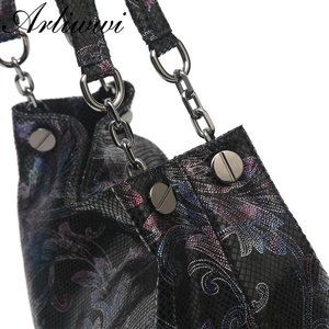 Image 5 - Arliwwi Brand 100% Real Leather Shiny Flower Female Handbags Pewter Chain Genuine Suede Cow leather Embossed Bags GY15