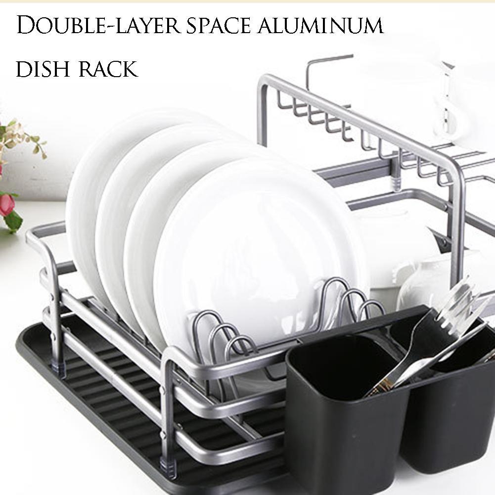 Dish Rack Tableware Drainer Drying Rack Kitchen Supplies Holder Storage 2 Layers For Home Kitchen Storage Supplies