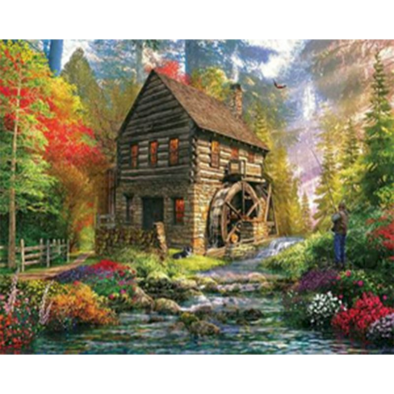 Painting By Numbers Beautiful Mountain lodge fishing DIY Abstract Oil Painting On Canvas Acrylic Paint By Numbers For Home Decor-0
