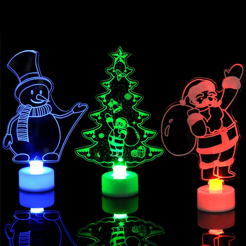 Colorful Mini Luces Led Christmas Tree Night Light Snowman Santa Claus Children Gift Xmas Lights Lamps Party Home Decor