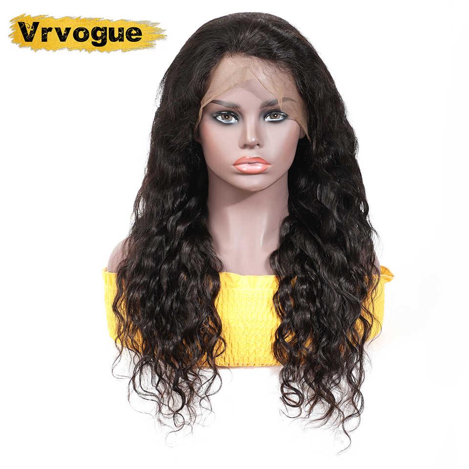 Vrvogue 360, фронтальный парик на шнурке, предварительно выщипанные с детскими волосами, бразильские объемные волнистые человеческие волосы, фронтальные парики на шнурке для черных женщин