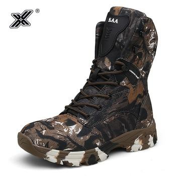 X Brand Trekking al aire libre impermeable Oxford, botas de desierto para hombre, botas de ejército de camuflaje, zapatos de combate de invierno para hombre