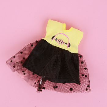 1/8 BJD Dolls Clothes Set 16-18 CM BJD Dolls Lace Flower Dress Sweater 6 Inch BJD Dolls Tops With Skirt For Girls Dolls Clothes - Yellow Black