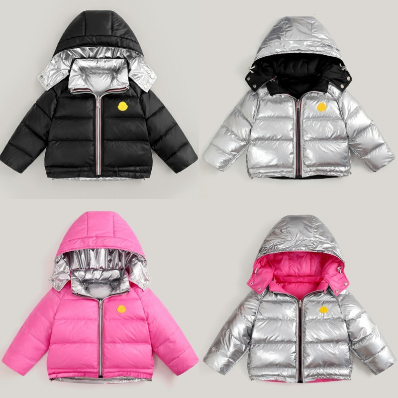 Children's Down Jacket Double-sided Children's Down Jacket Boys and Girls Hooded Detachable Thick Bread Clothing Short Silver