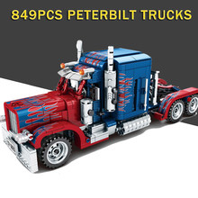 Technic Optimus Prime Peterbilt 389 Trucks Building Blocks Sembo 701803 City Set Bricks Toys Birthday Gifts(China)