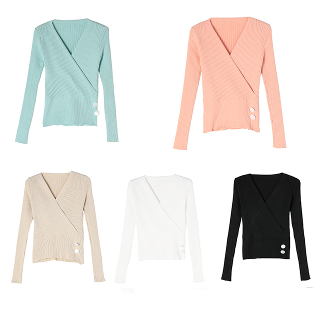 Ailegogo Sexy Women V-neck Long Sleeve Sweater Casual Autumn Winter Female Knitwear Slim Fit Tops Button Knit Ladies Pullover 5