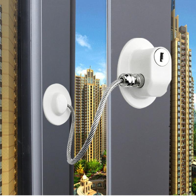 2 Pcs/Set Children Falling Window Lock Baby Cabinet Protection Blockers Baby Safety Locks Plastic Window Door Locks With Keys