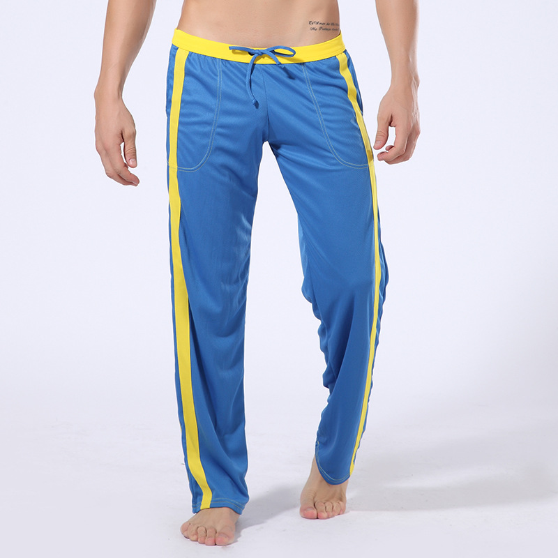 Summer Fashion Fitness Casual Men's Trousers Breathable And Quick Drying Sweatpants Drawstring Comfort Male Patchwork Pants