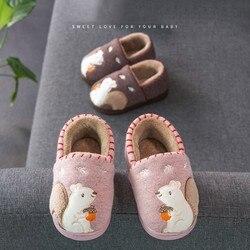 Zapatillas antideslizantes con suela de goma de terciopelo cálido de algodón de invierno para niños