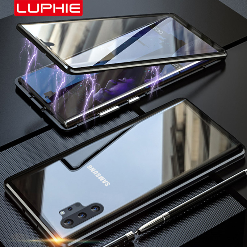 Luphie 360 Full Body Case for Samsung Note10 Plus Magnetic Aluminum Metal Shell Glass Cover Galaxy Note 10
