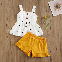 Toddler Baby Girls Clothes Sets Infant Baby Girls Polka Dot Sleeveless Sun-Top+Shorts Outfits Sets Newborn Kids Clothing