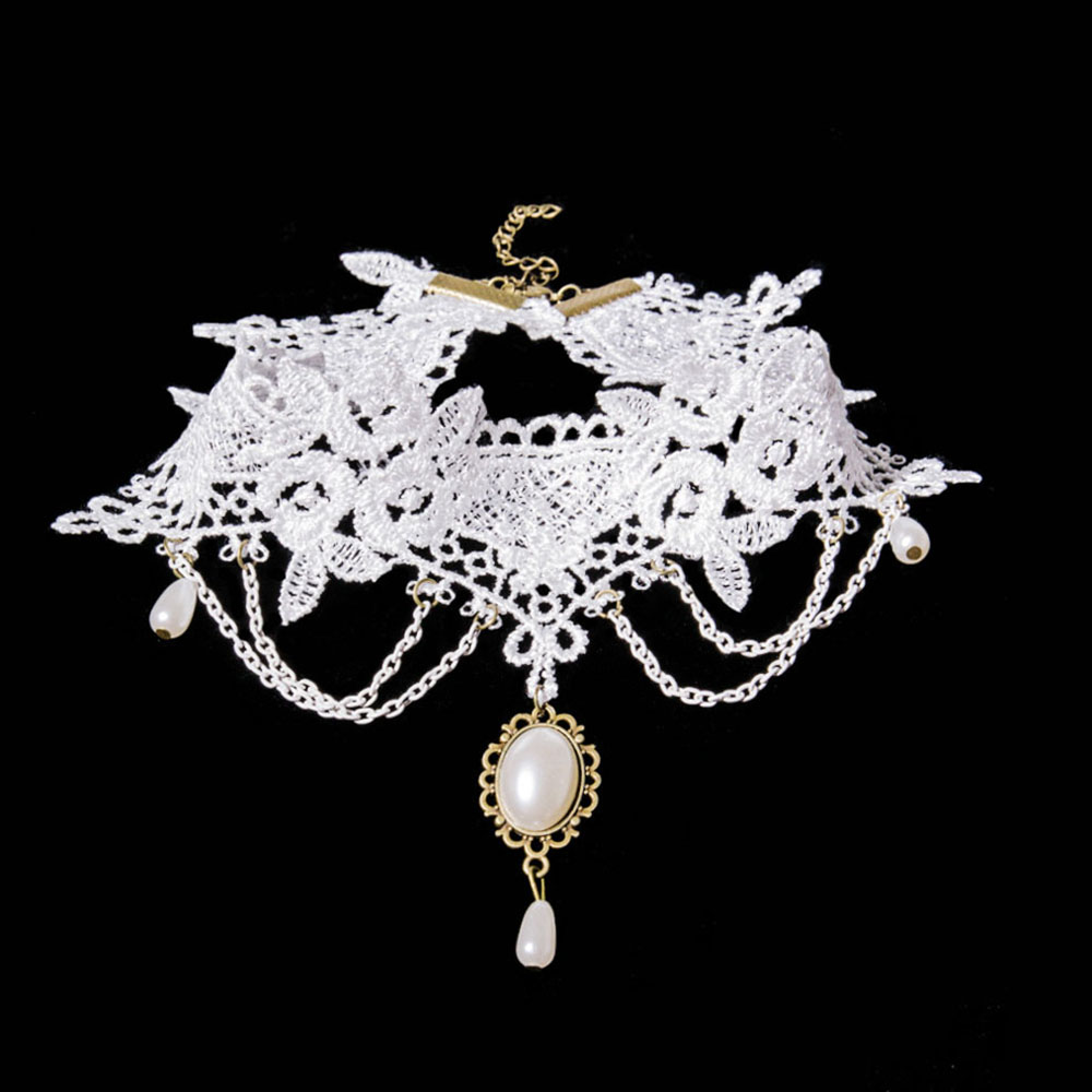 New White Crystal Necklace For Women Fashion Gothic Victoria Vintage Lace Choker Clavicle Chain Collar Jewelry Necklaces