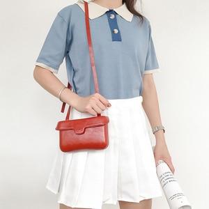 Image 3 - Small Square Messenger Shoulder Bags Leather Flap Simple Designer Handbags Vintage Casual Crossbody Bag For Women 2020