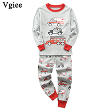 Vgiee Children Boys Girls Clothes Fall Winter Full Cotton Unisex Crtoon Pattern for Fire Truck Baby Kids Girl Set CC636