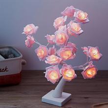 Светодиодный светильник с имитацией розового дерева, романтический цветочный Настольный светильник, Ночной светильник, домашний декор(розовые цветы, теплый белый