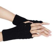 Женские теплые зимние короткие вязанные перчатки без пальцев женские перчатки одноцветные перчатки на Рождество 10,9
