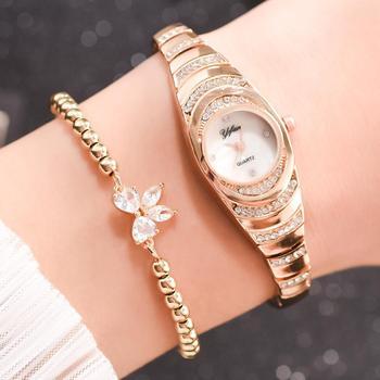 2 unids/set de reloj de moda para mujer, Diamante de imitación delicado, pulsera de plata para mujer, reloj de pulsera de lujo para mujer, reloj femenino