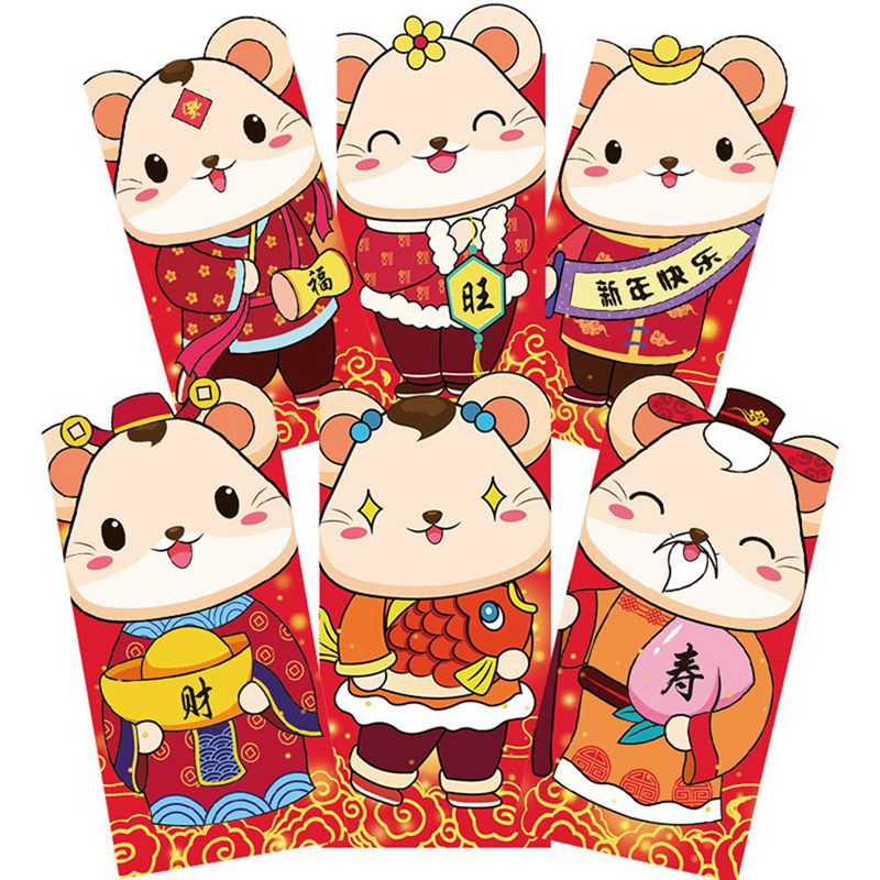 (6 Pieces/lot) Cartoon Lucky Cat Red Envelopes Happy New Year Money Envelopes Cute Red Pocket Bag